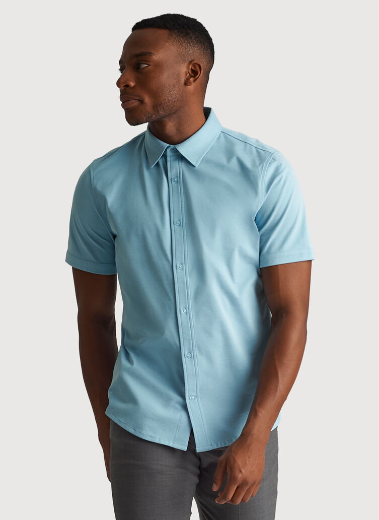 City Tech Short Sleeve Shirt, Blue Moon Chambray | Kit and Ace