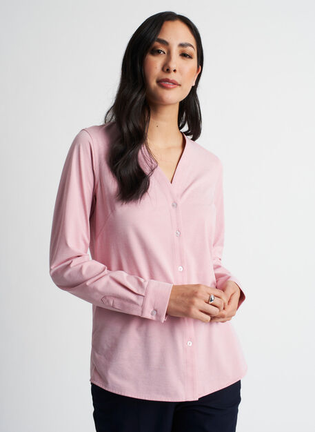 Going Places Blouse, Dusty Rose Chambray | Kit and Ace