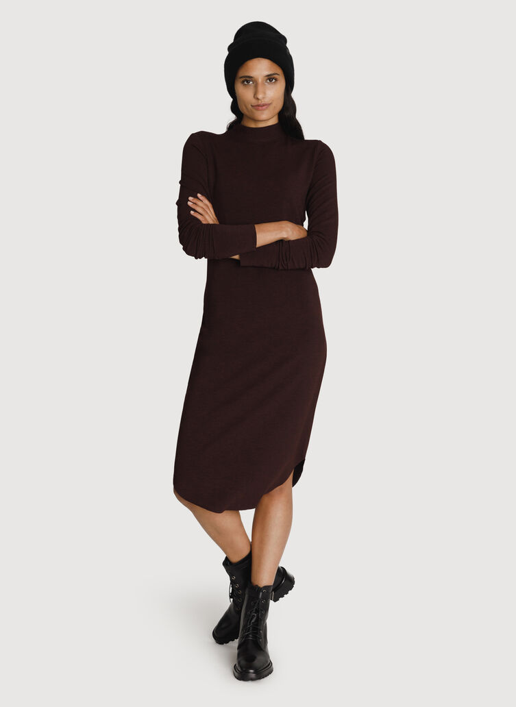 Mock Neck Brushed Dress, HTHR Plum | Kit and Ace