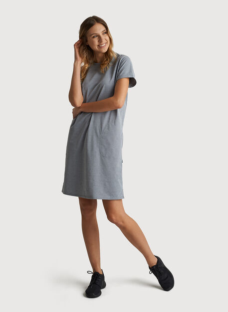 O.T.M. Short Sleeve Crew Dress, DK Navy Chambray | Kit and Ace