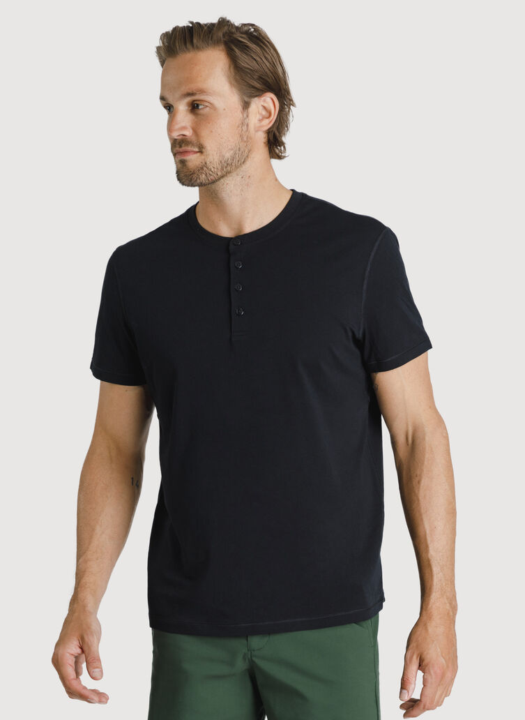 Ace Pima Henley Tee, BLACK | Kit and Ace