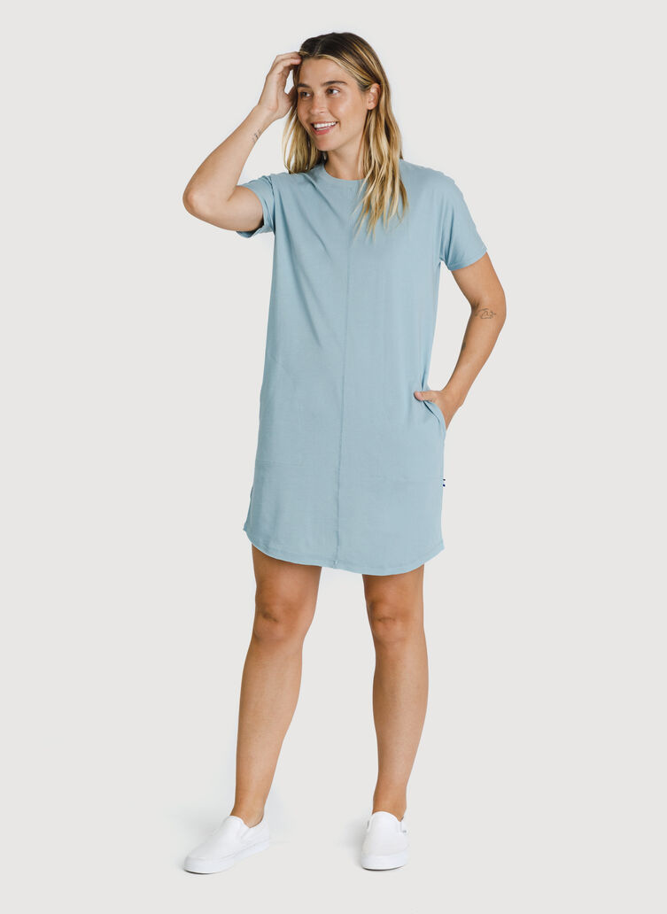Kit Pima Tee Shirt Dress, Ocean Blue | Kit and Ace