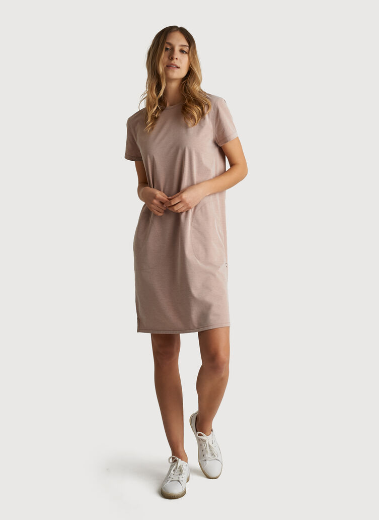 O.T.M. Short Sleeve Crew Dress, Glazed Ginger Chambray | Kit and Ace