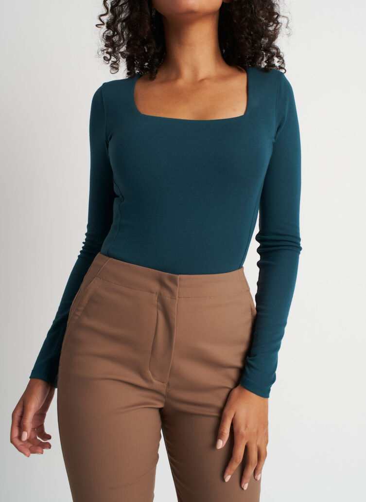 Kit Square Neck Bodysuit, Deep Teal | Kit and Ace