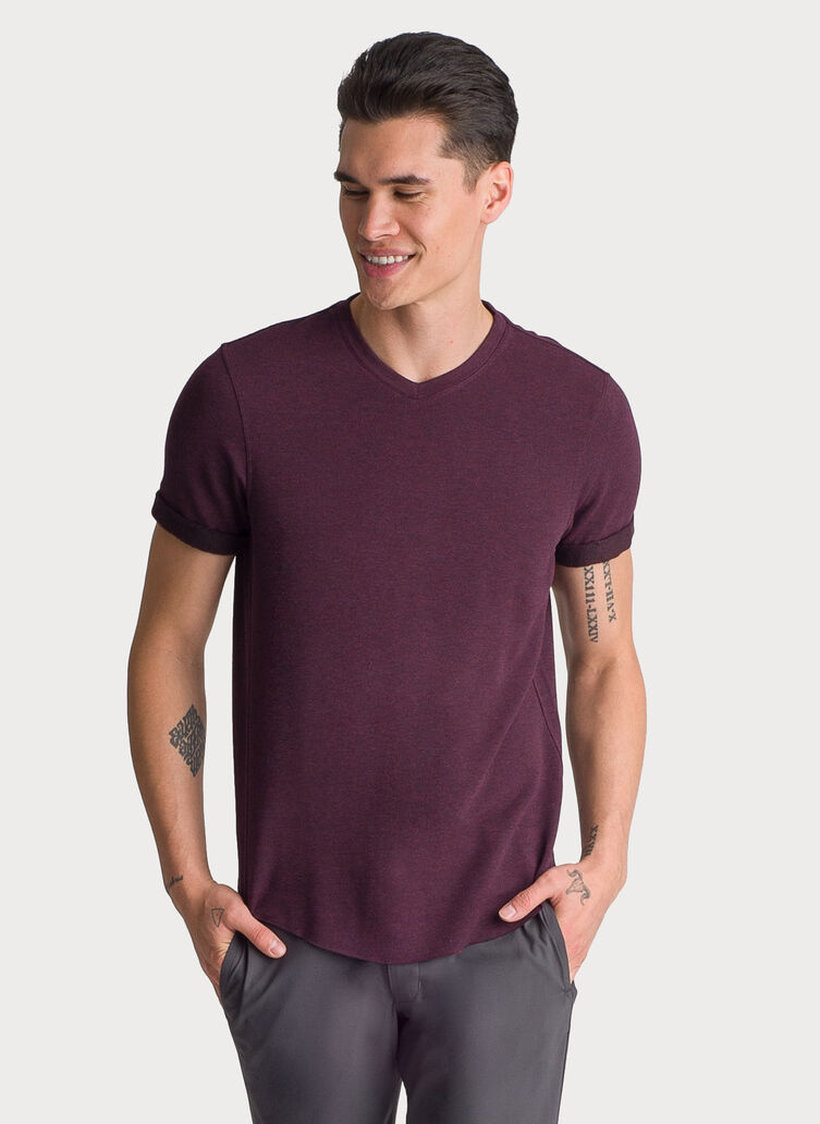 Cuffed Brushed V-Neck, HTHR Mulled Wine | Kit and Ace