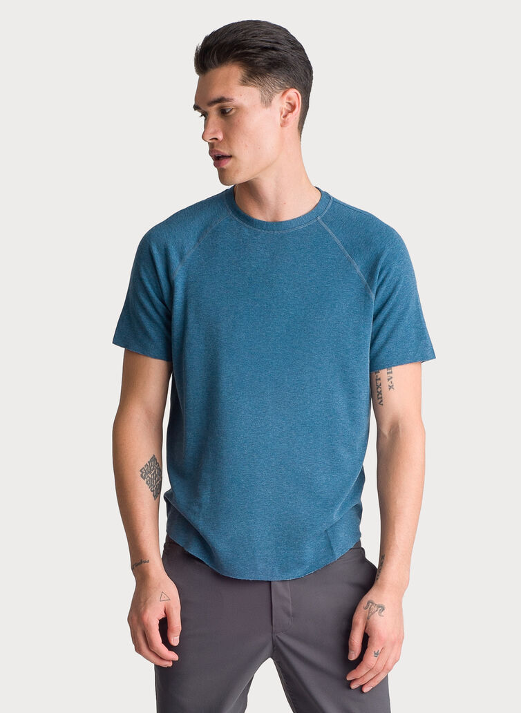 Edge Brushed Short Sleeve Crew, HTHR Legion Blue | Kit and Ace