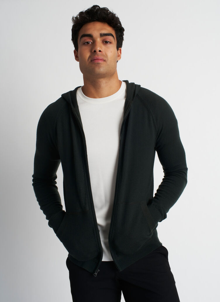 A to B Merino Hoodie, Deep Forest | Kit and Ace