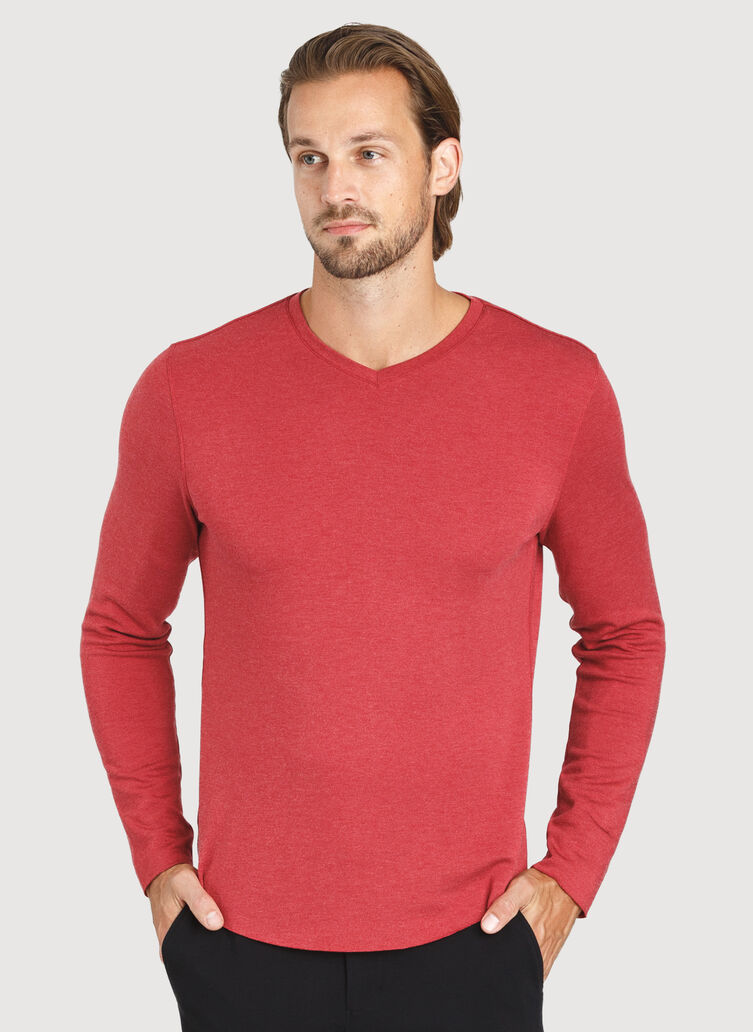 The B.F.T. Long Sleeve V-Neck Tee, Heather Chili Pepper | Kit and Ace
