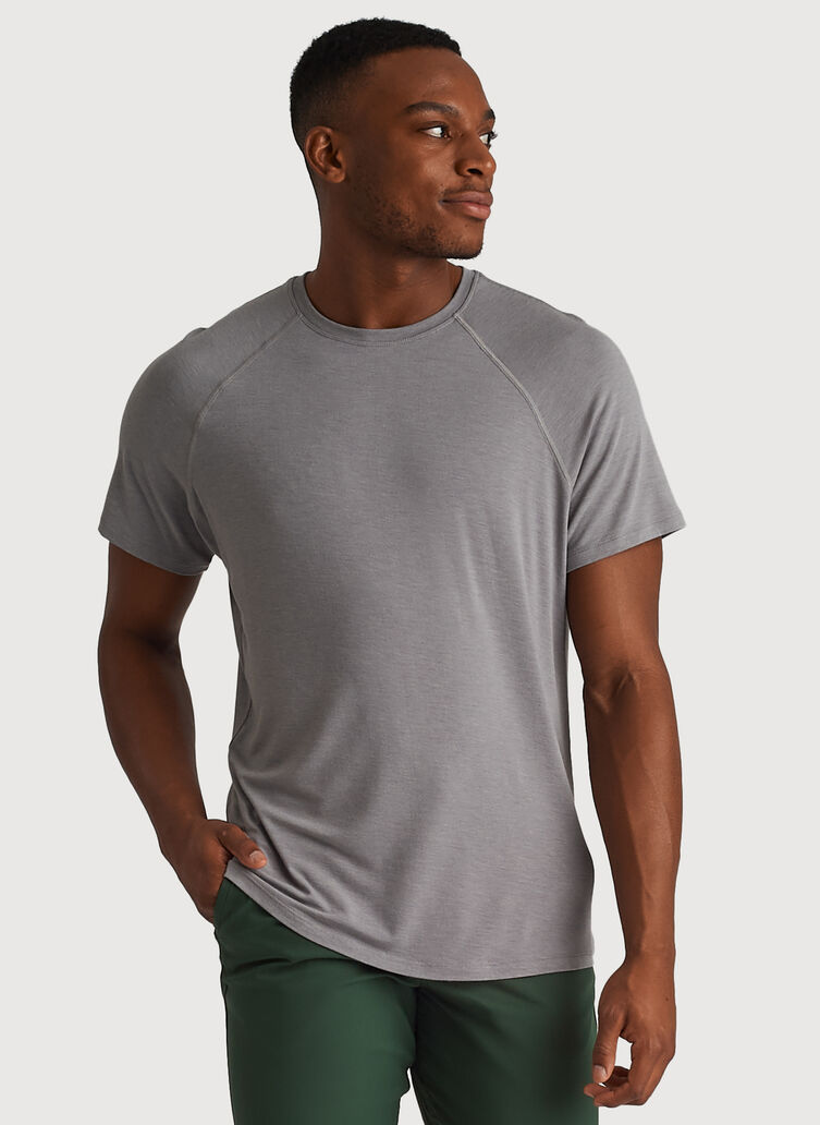 Ace Tech Jersey Crew Tee Relaxed Fit, Heather Light Grey | Kit and Ace