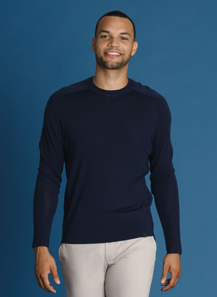 Washable Merino Long Sleeve Crew, DK Navy | Kit and Ace