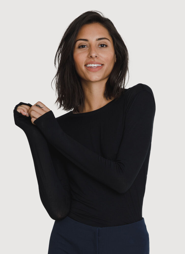 Straight Up Crew Long Sleeve, BLACK | Kit and Ace