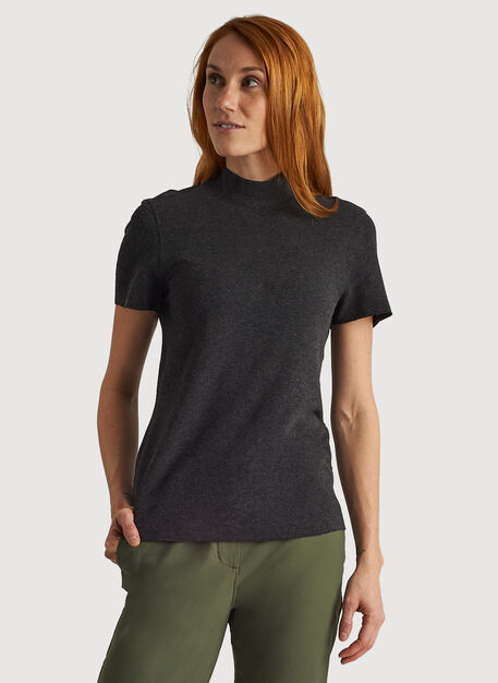 Kit Brushed Mock Neck Tee, HTHR Charcoal   Kit and Ace