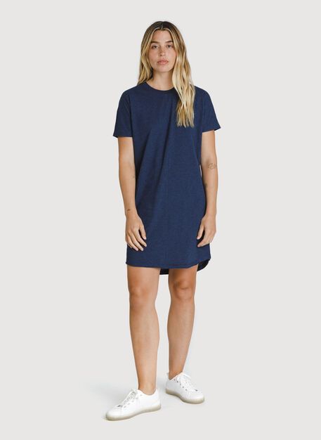 Kit Pima Tee Shirt Dress, HTHR Deep Navy | Kit and Ace