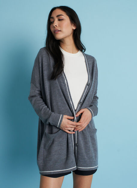 Travel On Merino Cardigan, Heather Grey/Ivory | Kit and Ace