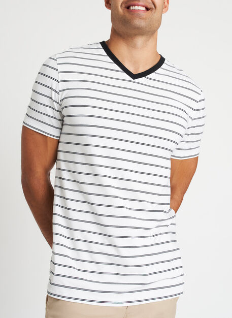 Ace Pima V-Neck Tee, White Duo Stripe | Kit and Ace