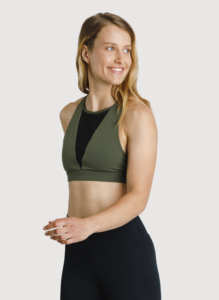 The Base High Neck Bra, Field | Kit and Ace