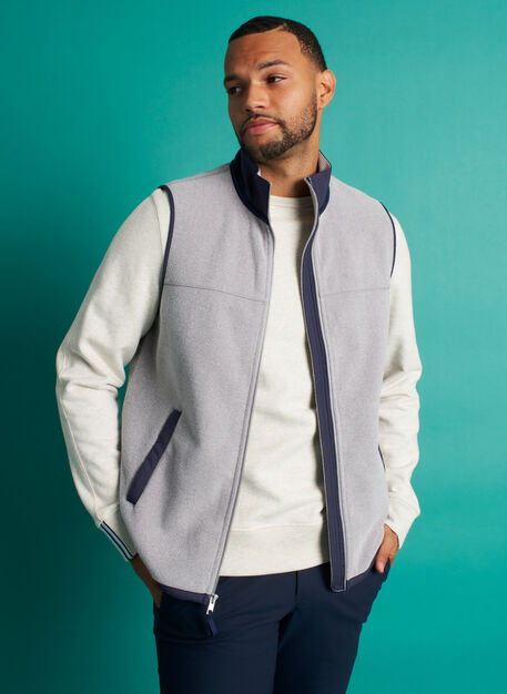 Snug Fleece Vest, Ash/Dark Navy | Kit and Ace