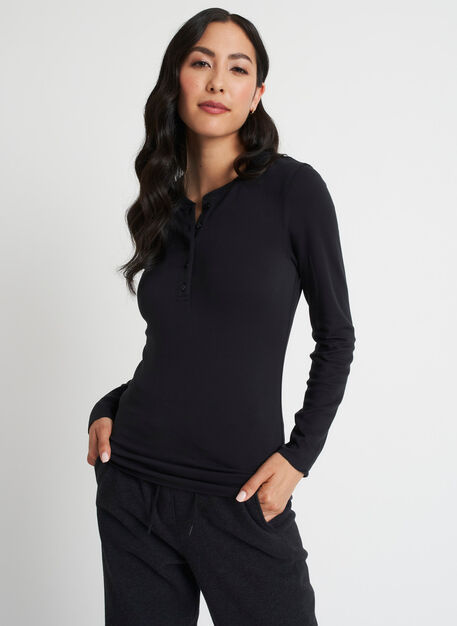 Brushed Henley Long Sleeve Tee, Black   Kit and Ace