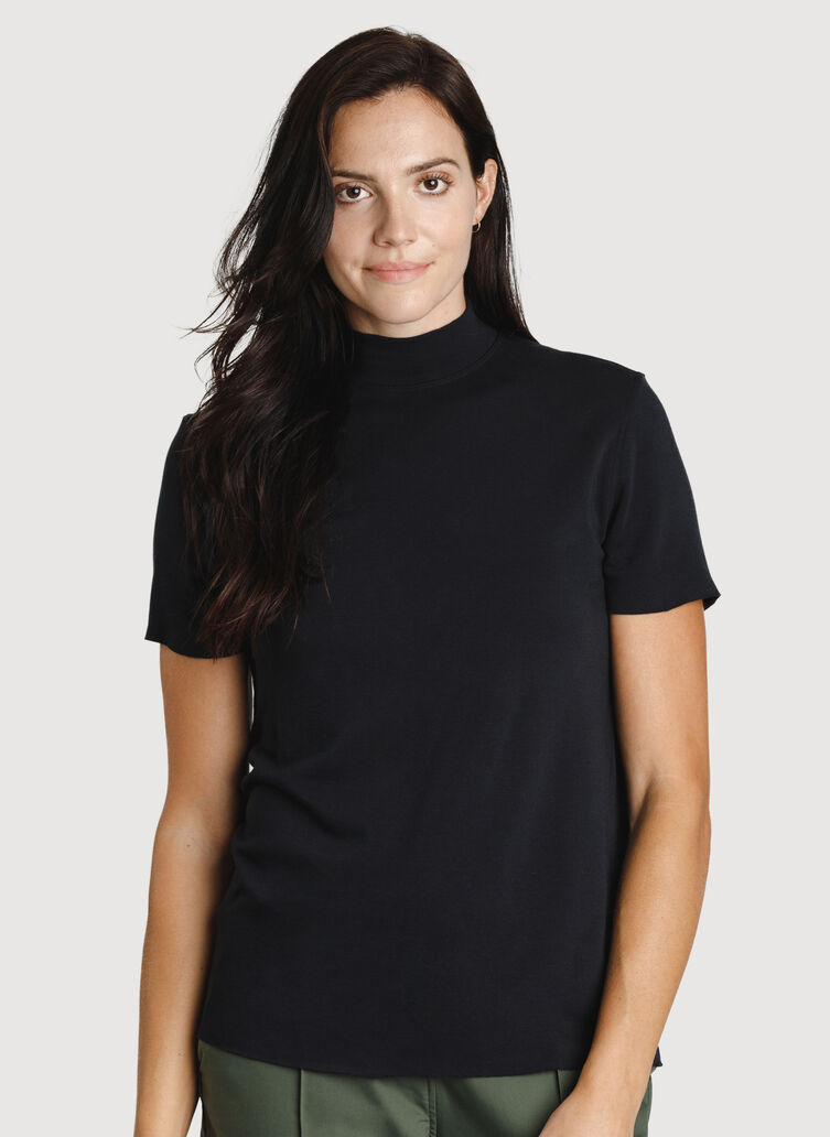 Good Feels Mock Neck Tee, BLACK | Kit and Ace