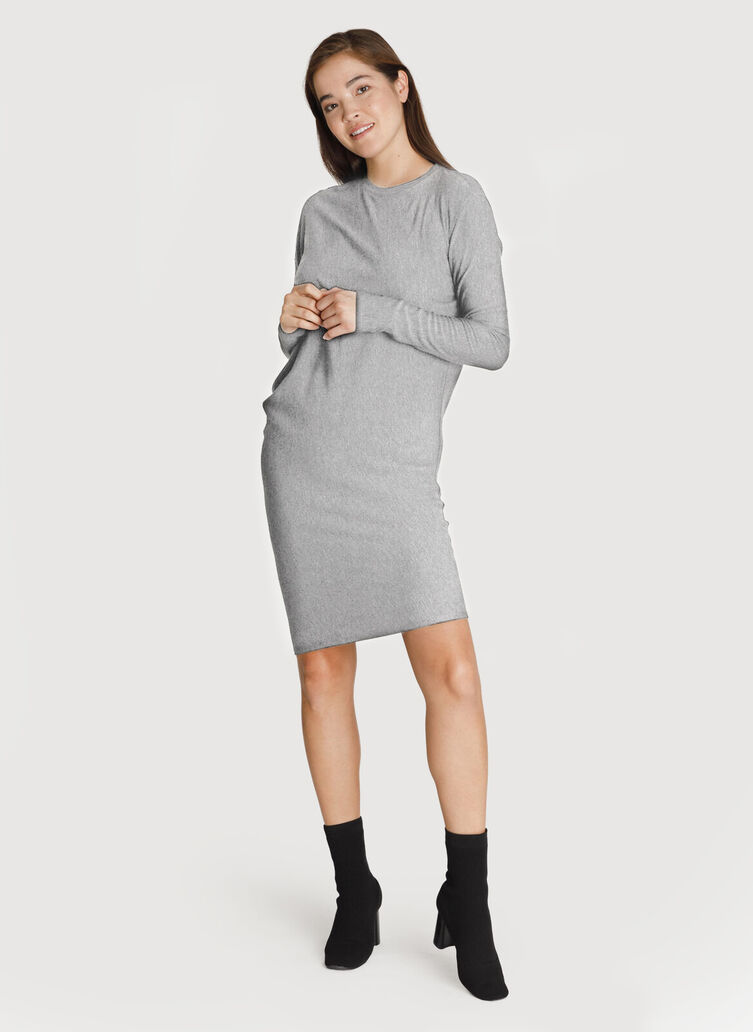 Brushed Wave Dress Long Sleeve, Heather Charcoal Grey | Kit and Ace