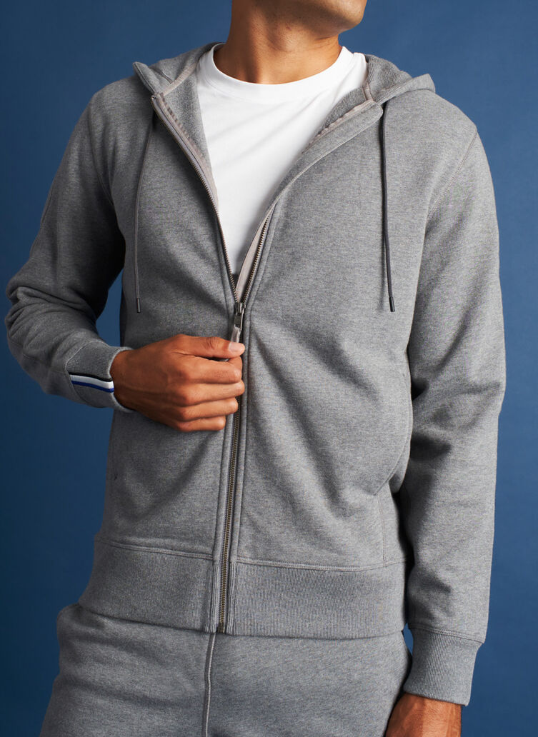 West Coast Zip Up Hoodie, Heather Grey | Kit and Ace