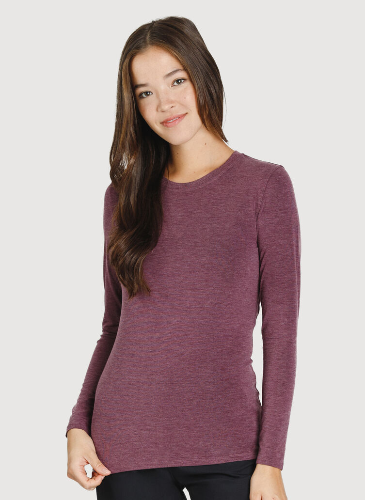 Kit Crew Long Sleeve, HTHR Plum Wine | Kit and Ace
