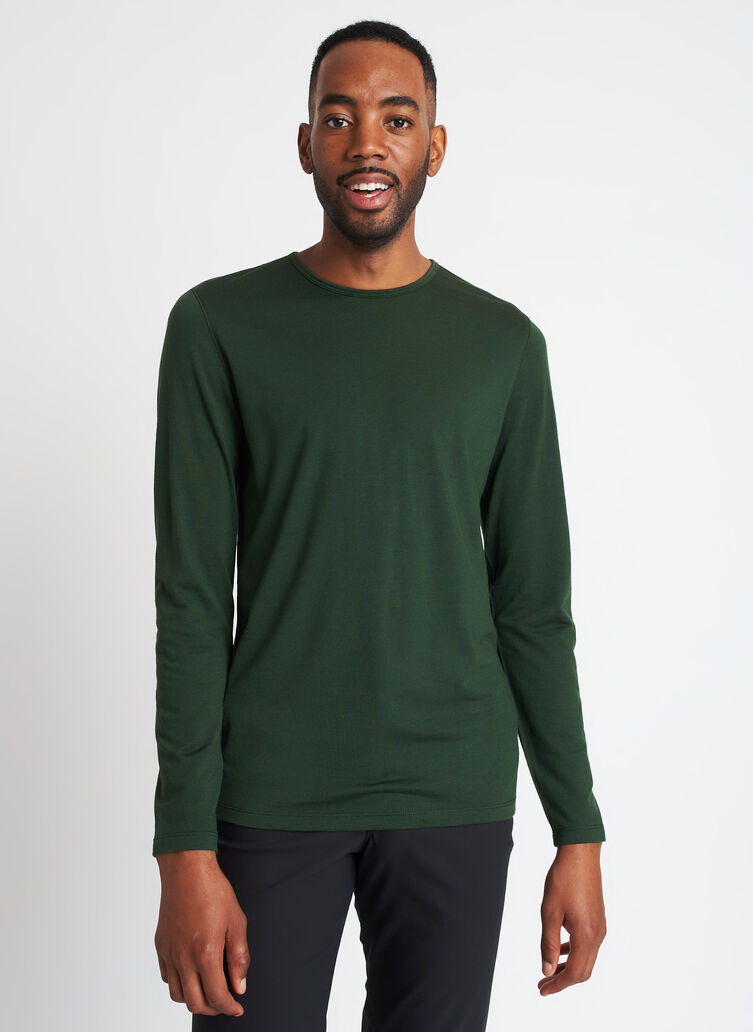 Merino Jersey Long Sleeve Crewneck Tee, Forest   Kit and Ace