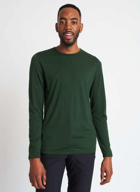 Merino Jersey Long Sleeve Crewneck Tee, Forest | Kit and Ace