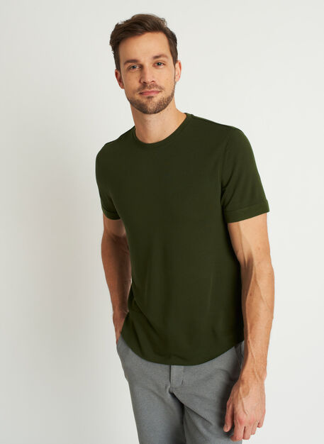 Brushed Crewneck Tee, Grove Green | Kit and Ace