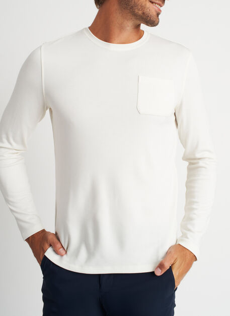 First Class Pocket Crewneck Tee, Bone White | Kit and Ace