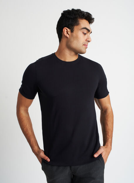 Comfy Brushed Crewneck Tee, Black | Kit and Ace