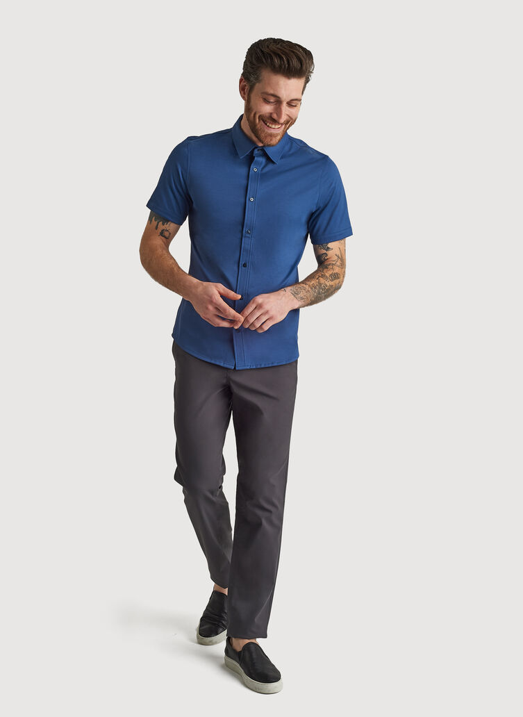 City Tech Short Sleeve Shirt, Dark Denim | Kit and Ace