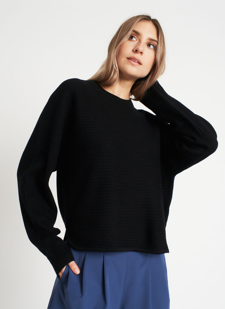 In the Clouds Merino Sweater, Black | Kit and Ace
