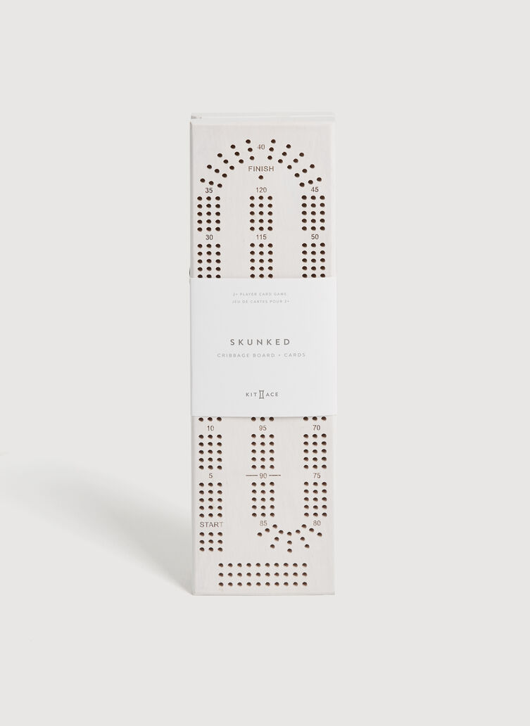 Skunked Cribbage Board & Cards, White Ash | Kit and Ace