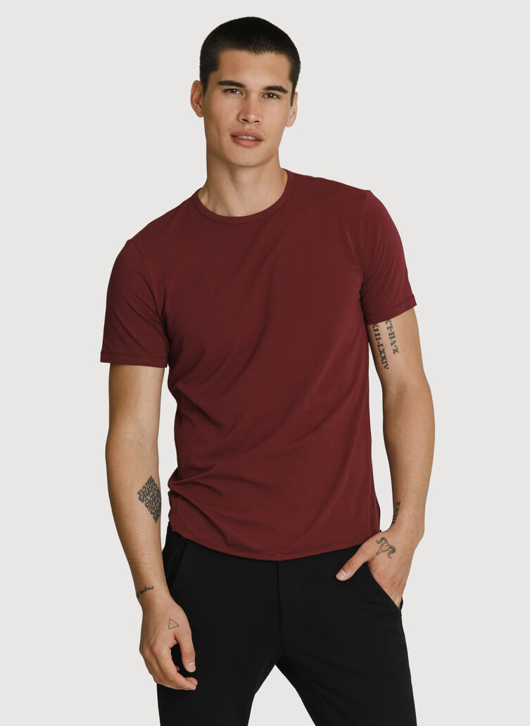 Stretch Pima Crew, Merlot | Kit and Ace