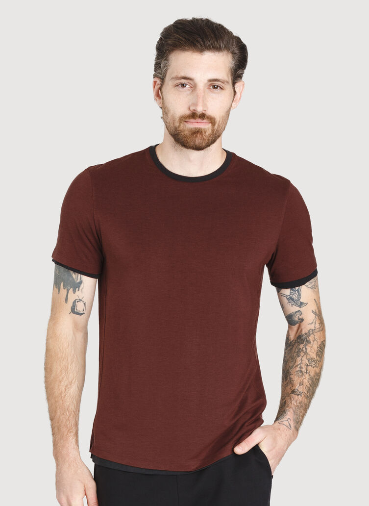 Ace Reversible Short Sleeve Tee, Cherrywood/Black | Kit and Ace
