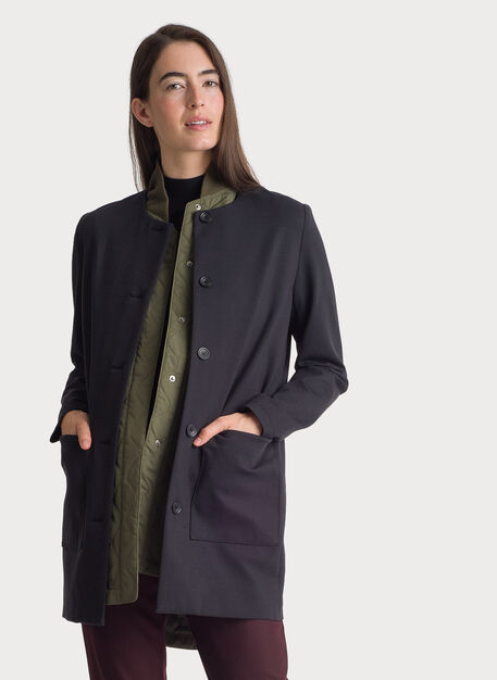 Collarless Stretch Jacket, BLACK | Kit and Ace