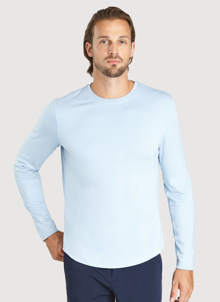 The B.F.T. Long Sleeve Crew, HTHR Celestial Blue | Kit and Ace