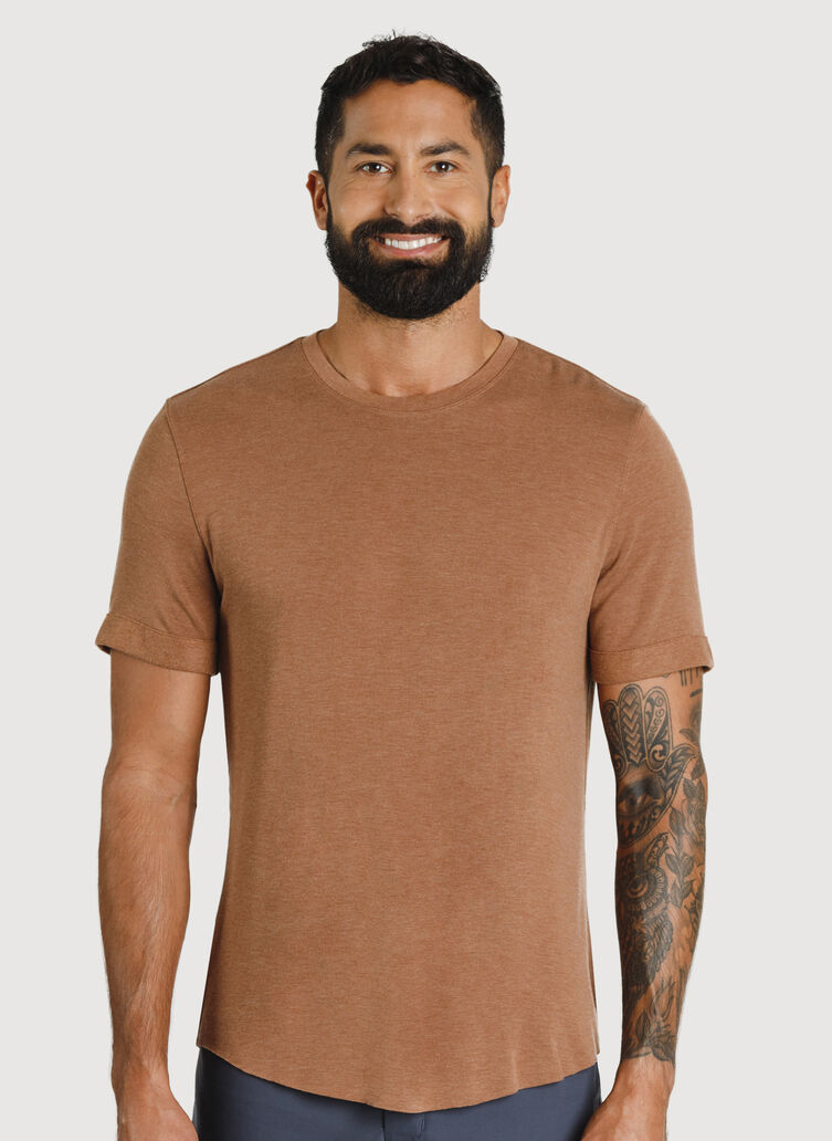 Brushed Crewneck Tee, Heather Toffee | Kit and Ace