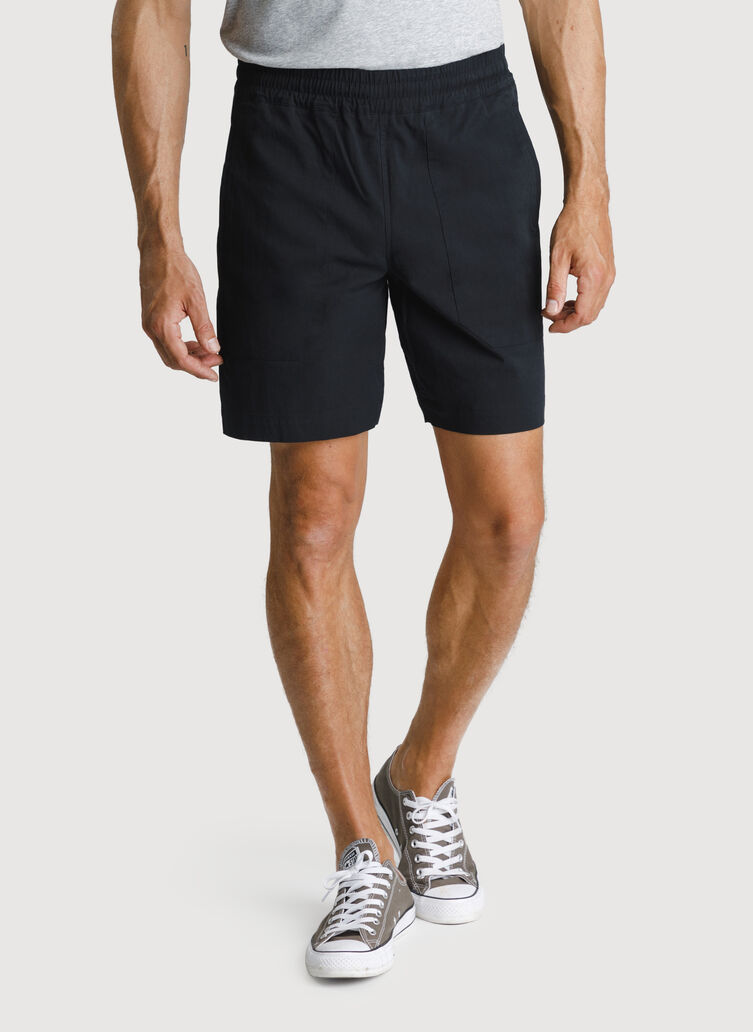 Relaxed Stretch Cotton Pull-On Short, BLACK | Kit and Ace