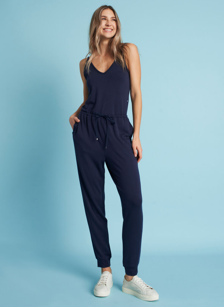 Good Feels Brushed Jumpsuit, Dark Navy | Kit and Ace