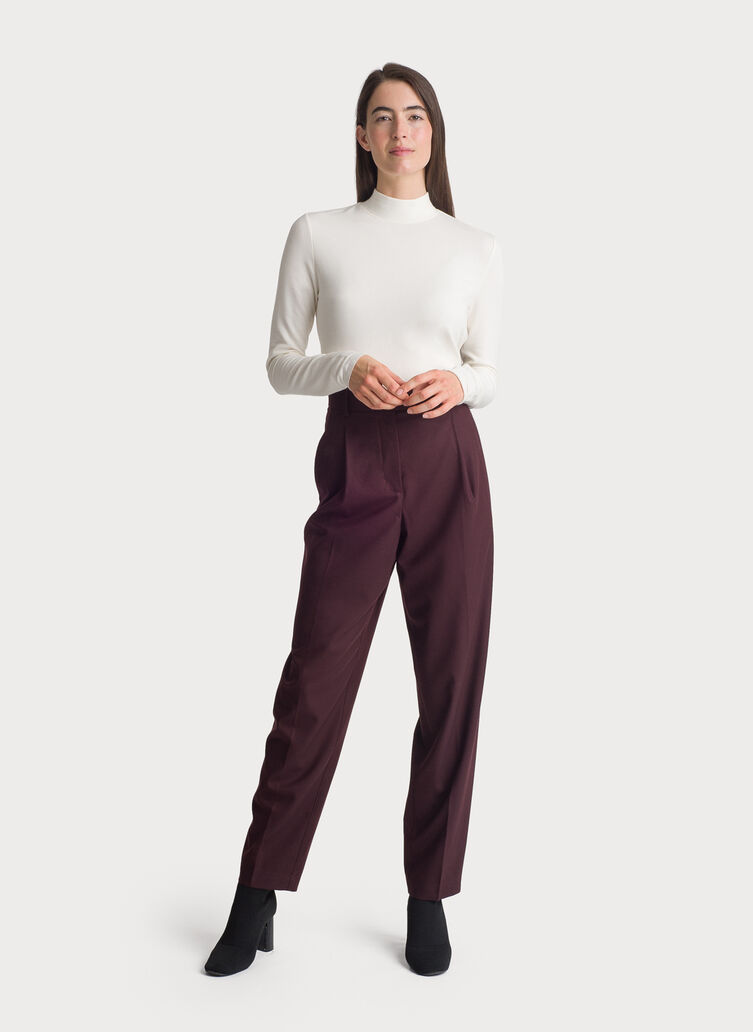Stretch Suiting Pleated Trouser, Espresso | Kit and Ace