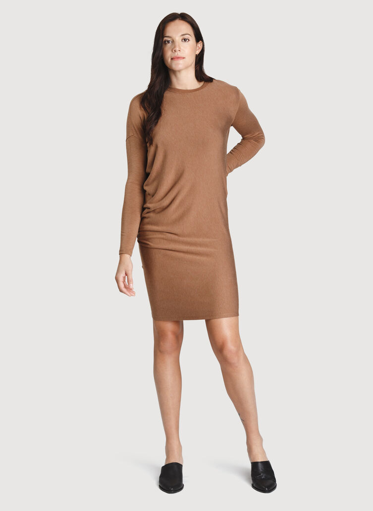 Wave Long Sleeve Dress, Heather Toffee | Kit and Ace