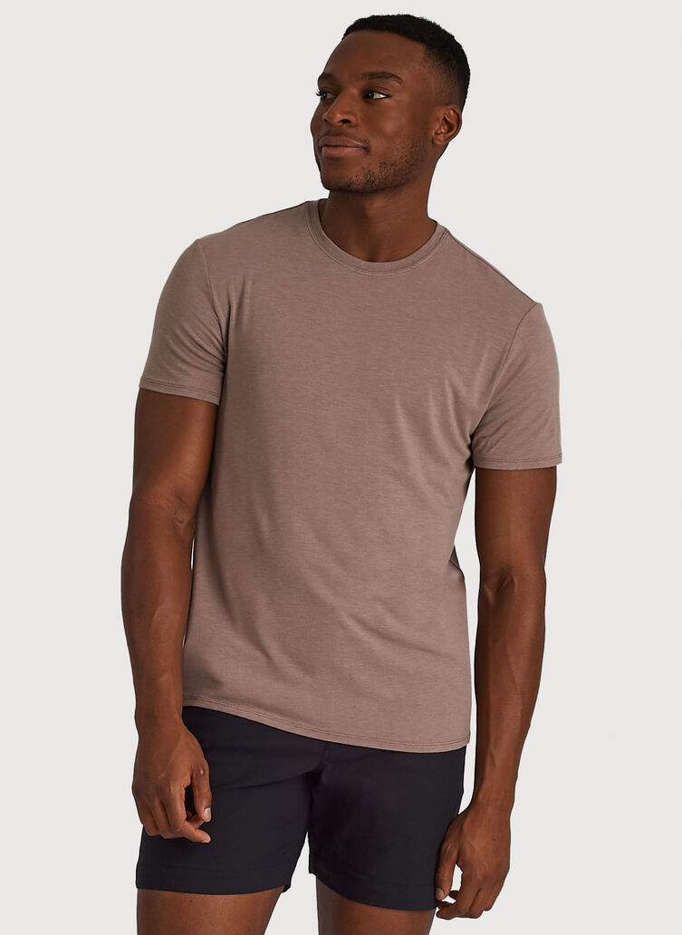 Ace Tech Jersey Crew Tee Standard Fit, HTHR Dark Oat | Kit and Ace