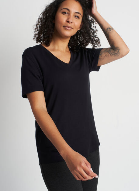 Good Feels Brushed V-Neck Tee, Black | Kit and Ace