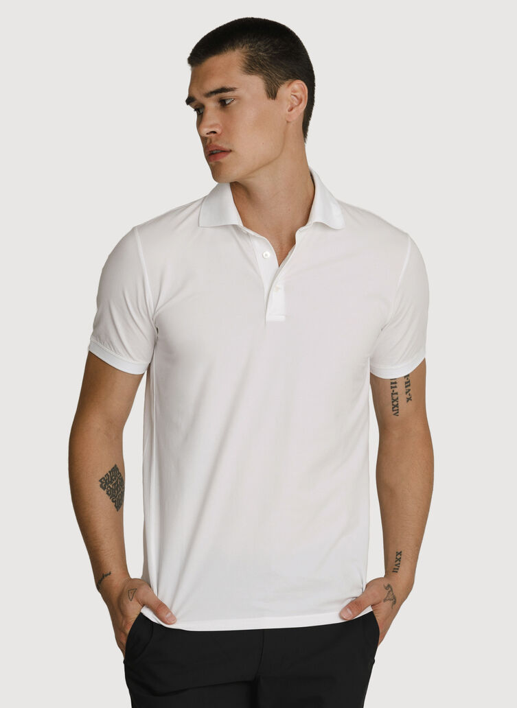 Stretch Pima Polo, Bright White | Kit and Ace