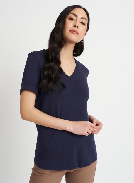 Good Feels Brushed V-Neck Tee, Dark Navy | Kit and Ace