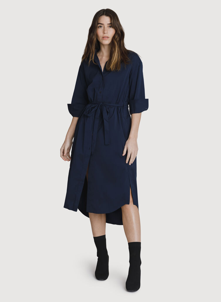 Studio Stretch Shirt Dress, DK Navy | Kit and Ace