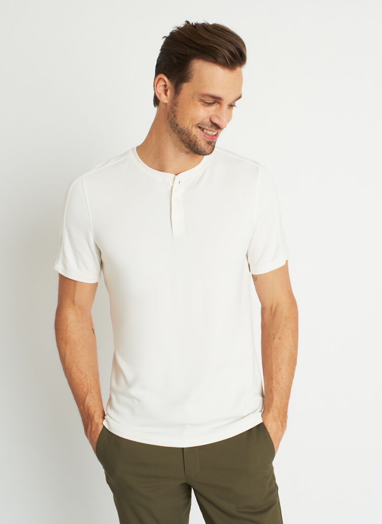 Comfy Brushed Henley Tee, Bone White | Kit and Ace