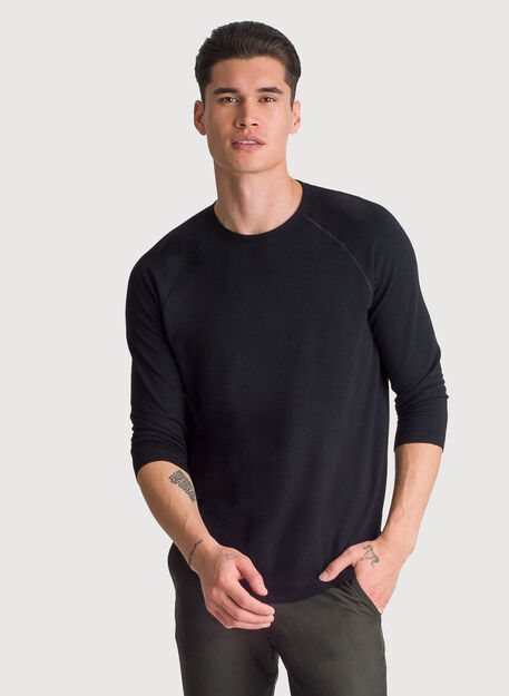 Brushed 3/4 Sleeve Crew, BLACK | Kit and Ace